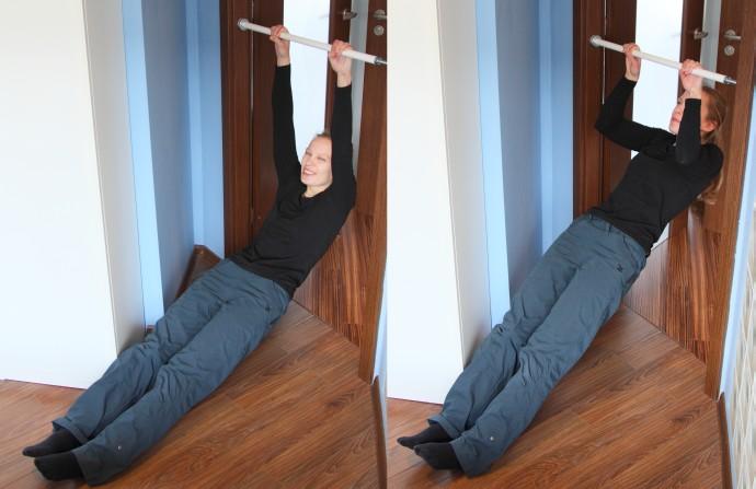 Podciąganie na obniżonym drążku ćwiczenia