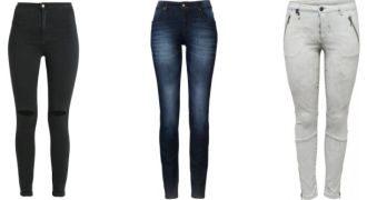 wąskie opinające jeansy