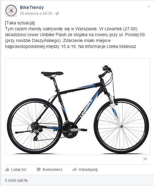 Co zrobić gdy ukradli rower