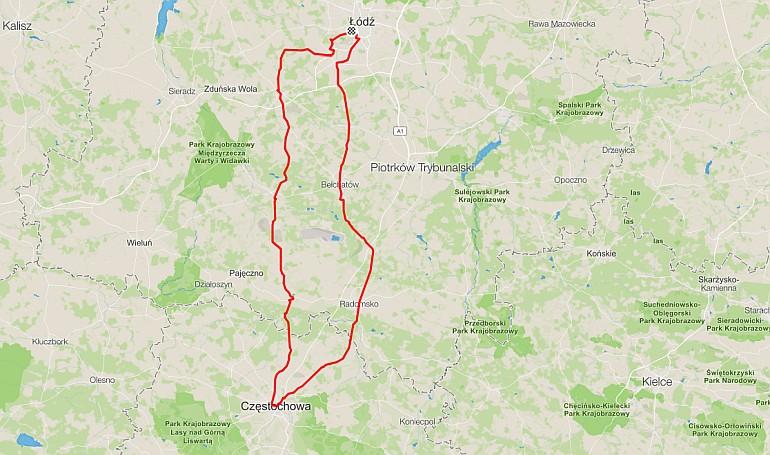 Łódź - Częstochowa trasa rowerowa