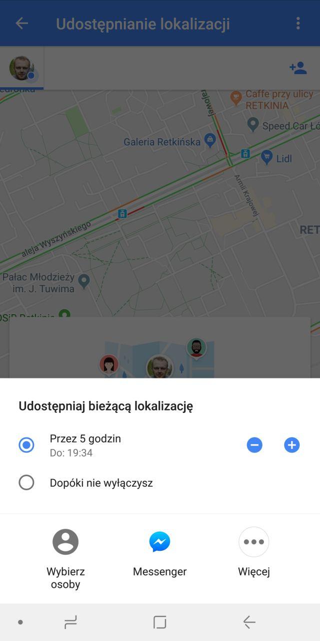Udostępnianie lokalizacji Google
