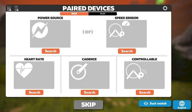 Zwift ekran podłączenia urządzeń